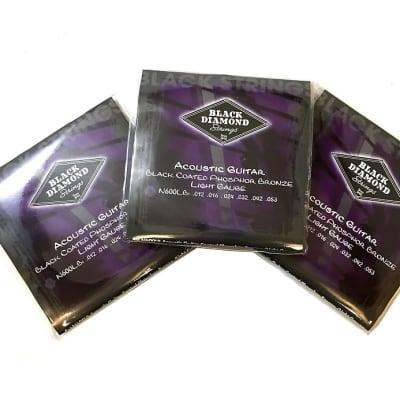 Black Diamond Guitar Strings 3-Pack Acoustic Light Black Coated 12-53 for sale