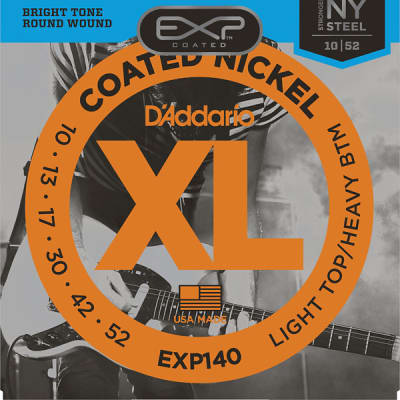 D'Addario EXP140 NY Steel Coated Nickel Light Top Heavy Bottom Electric Guitar Strings  10-52