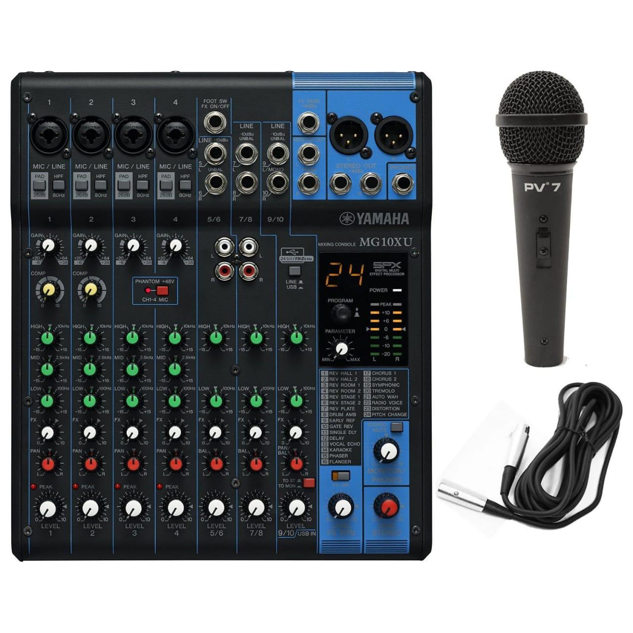 Yamaha mg10xu 10 input mixer w fx bundle black geartree for Yamaha mg10xu usb cable