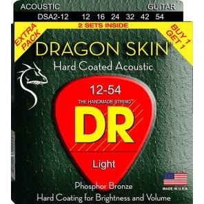 DR DSA-2/12 Dragon Skin Acoustic Guitar Strings - Medium (12-54), Pack of 2