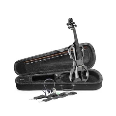 Stagg EVN-X-4/4-MBK Silent Violin Set w/ Case, Headphones