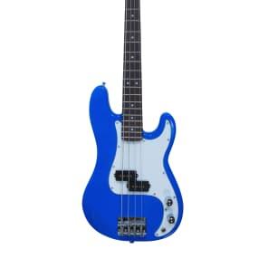 Quincy P BASS Electric Guitar Neon Colour 3/4 Size Kids Girls Boys Neon Blue Short Scale Length mini for sale