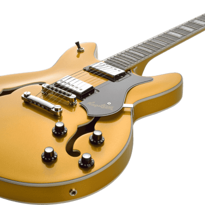Hagstrom VIK-GJY Justin York Viking Semi-Hollow Dual-Humbucker 6-String Electric Guitar-Custom Gold for sale