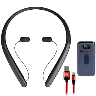 LG TONE Flex XL7 Bluetooth Wireless Stereo Headset Black with Power Bank Bundle