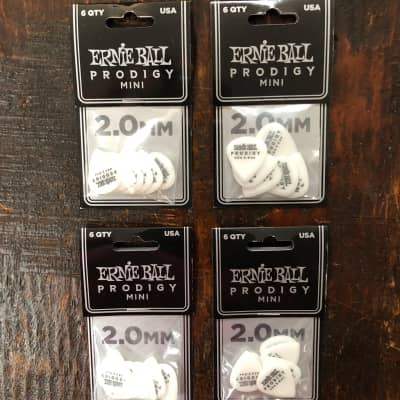 Ernie Ball 2.0mm White MINI Prodigy Picks 6 Picks PO9203 - 4 PACK