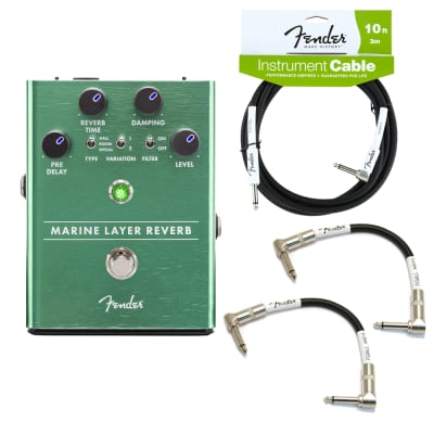 Fender Marine Layer Reverb Guitar Pedal with 10-ft Instrument Cable & (2) 6-Inch Patch Cables