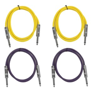 """Seismic Audio SASTSX-2-2YELLOW2PURPLE 1/4"""" TS Male to 1/4"""" TS Male Patch Cables - 2' (4-Pack)"""