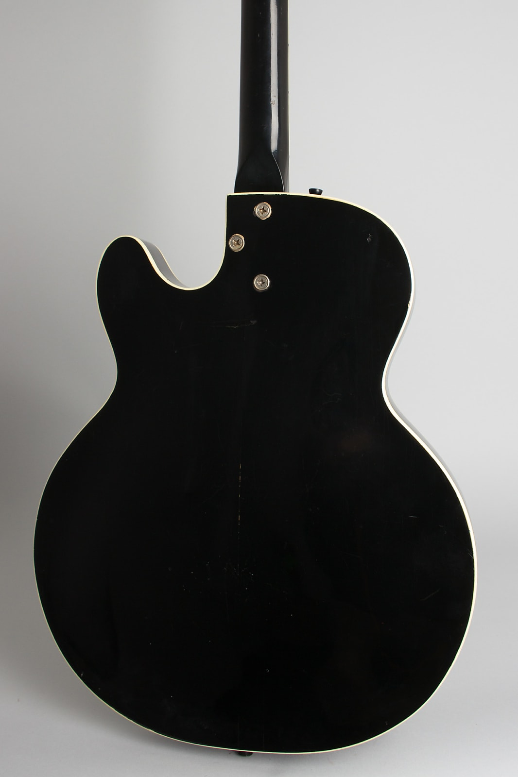 Silvertone Model 1446L Thinline Hollow Body Electric Guitar, made by Harmony (1960's), black gig bag case.