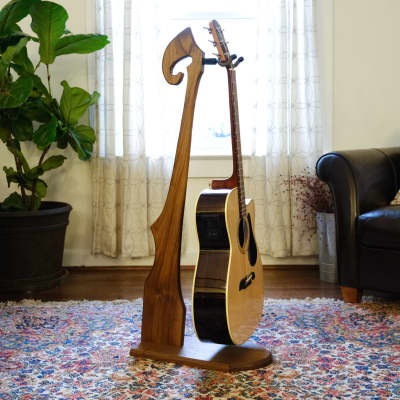 Handmade Solid Walnut Wood Guitar Stand - Electric & Acoustic