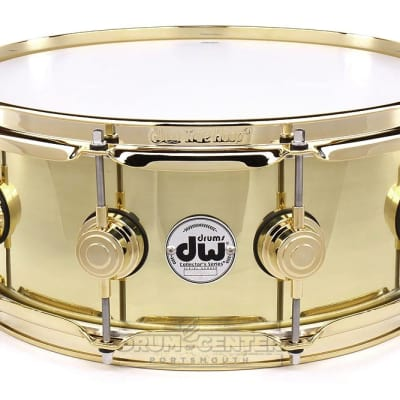 DW Collectors Bell Brass Snare Drum 14x5.5 Gold Hw image