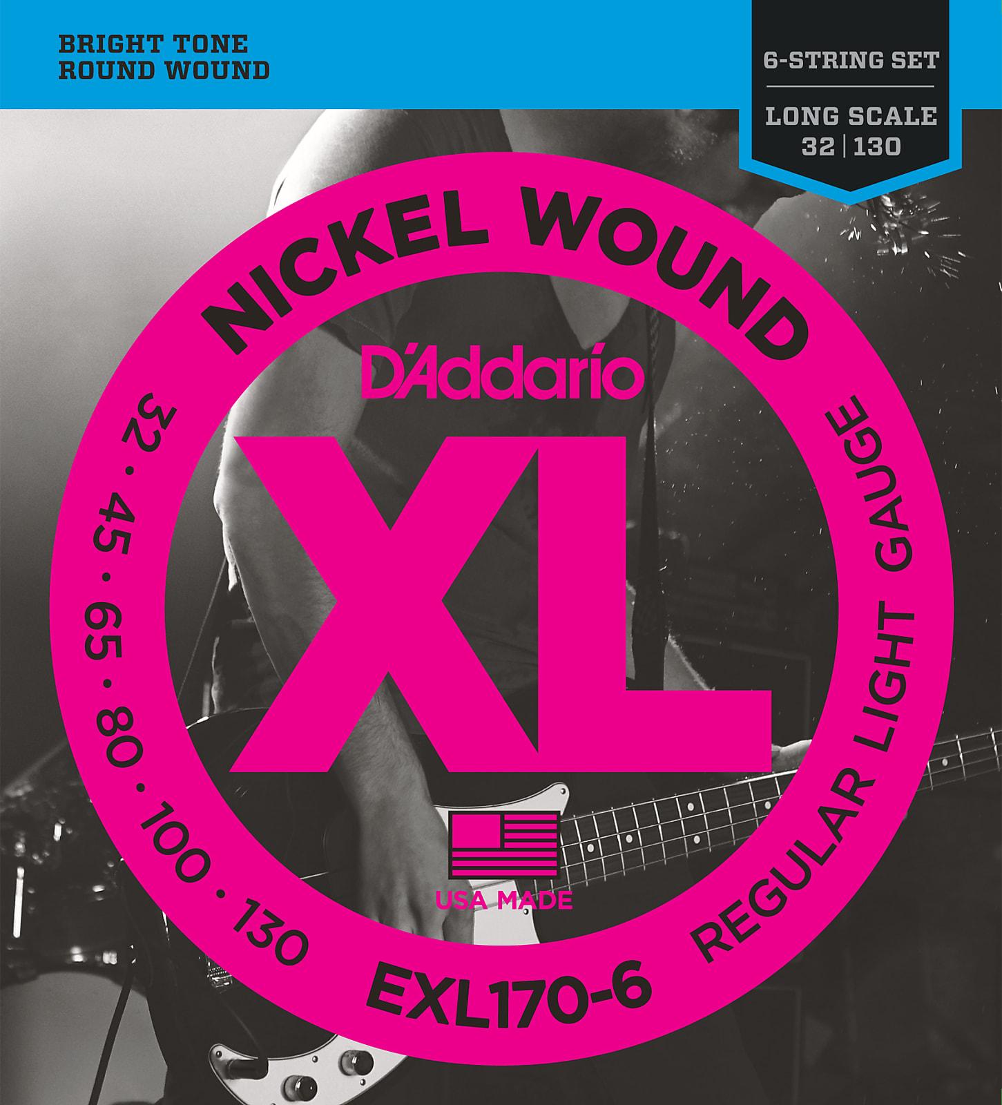 D'Addario EXL170-6 6-String Nickel Wound Bass Guitar Strings, Light, 32-130, Lo