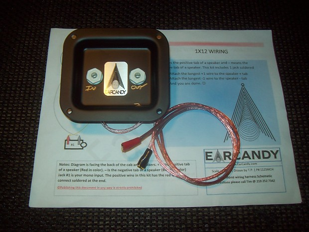 EarCandy 2x12 guitar amp speaker cab series wiring harness W P-out, on