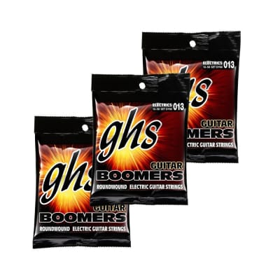 3-Pack GHS Electric Boomers DYM Medium Electric Guitar Strings with Wound 3rd (13-56)