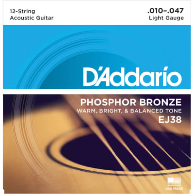 D'Addario EJ38 12-String Phosphor Bronze Light 10-47