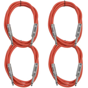 """Seismic Audio SASTSX-6-4RED 1/4"""" TS Male to 1/4"""" TS Male Patch Cables - 6' (4-Pack)"""
