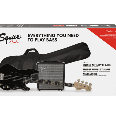 Squier Affinity Series Precision Bass PJ Pack Black Finish Jazz - Gig Bag Rumble Amp Authorized Deal