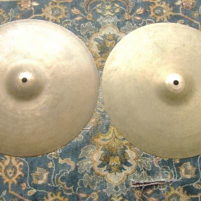 """A. Zildjian 14"""" Hollow Logo Light Hi-Hat Cymbals (Pair) 1978 - 1982"""