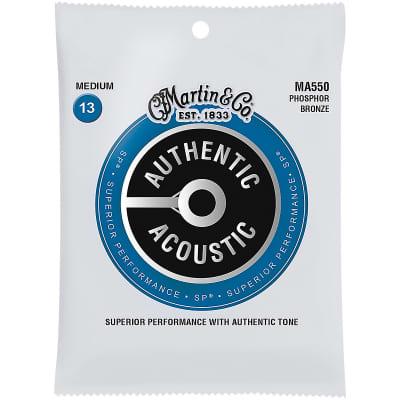 Martin MA550 Authentic Acoustic SP Phosphor Bronze Acoustic Guitar Strings - Medium (.13 - .56)