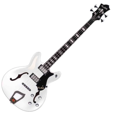 Hagstrom VIKB-WHT Viking Semi Hallow Contoured Top Ply Maple 4-String Electric Bass Guitar for sale