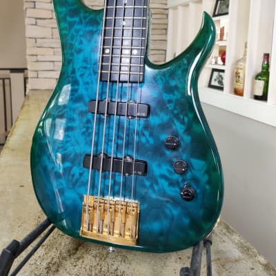 Modulus Graphite SPX 5 Bass Aqua Transparent Figured Maple for sale