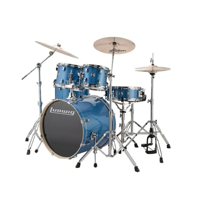 Ludwig Element Evolution Series 5 Piece Drum Set with Cymbals, in Blue Sparkle