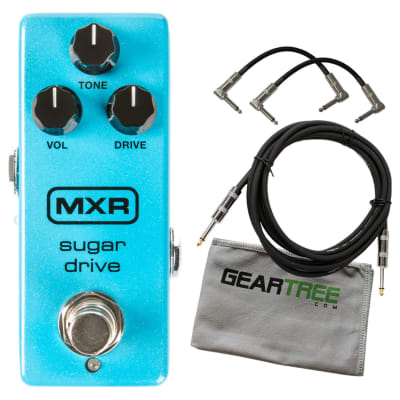 MXR M294 Sugar Drive Overdrive (w/Power Supply) Pedal Bundle w/ 3 Cables and Cloth