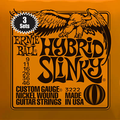 Ernie ball Slinky Nickelwound 3 x sets of Regular Hybrid Guitar Strings 9-46 for sale
