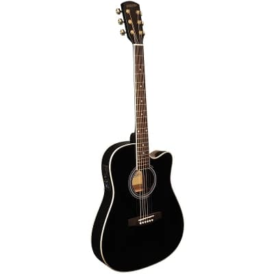 Indiana I-TB2BK Thin Body Dreadnought Cutaway Spruce Top 6-String Acoustic-Electric Guitar - Black for sale