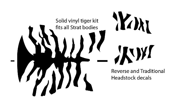 ESP Tiger vinyl decal kit  George Lynch Style stripes for guitar building