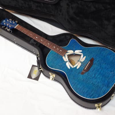 LUNA Fauna Dragonfly Quilt Maple acoustic electric GUITAR new w/ CASE Trans Teal Blue for sale