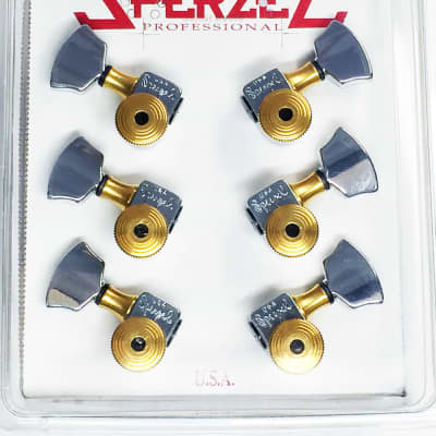 Sperzel 3X3 Trimlok 3-Per-Side Locking Tuners Tuning Pegs - CHROME & GOLD for sale