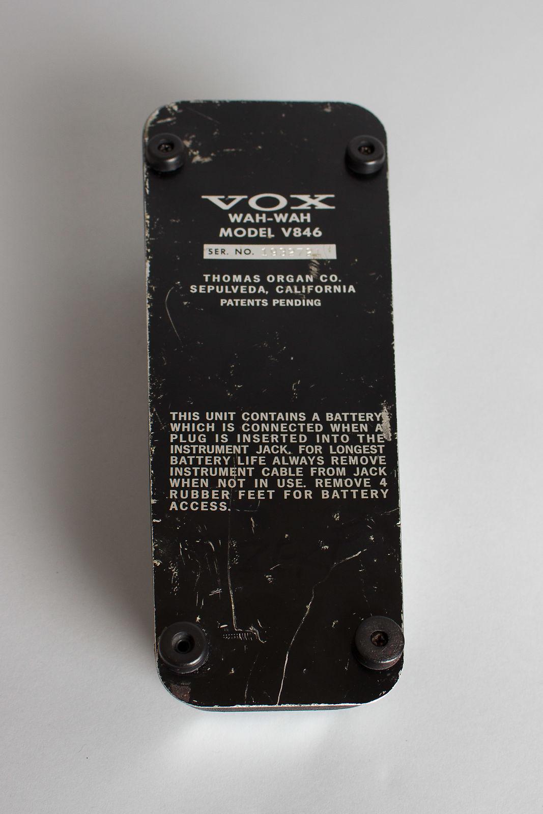 Vox  V846 Wah-Wah Pedal Effect,  c. 1970s, ser. #1932721.