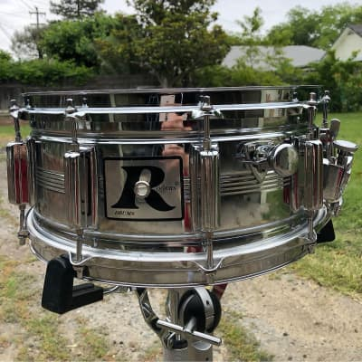 """Rogers """"Island Music Era"""" Dyna-Sonic 6.5x14"""" Steel Snare Drum 1980s"""