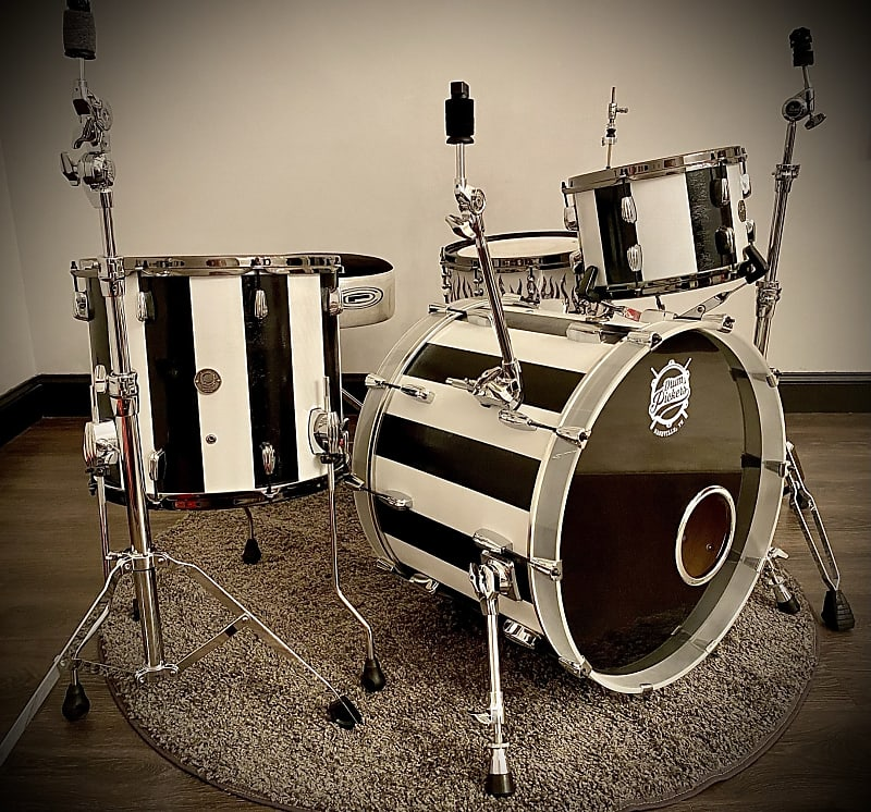 DrumPickers 4pc Vintage Professional Drum Kit in Van Halen Black & White Stripe Tribute