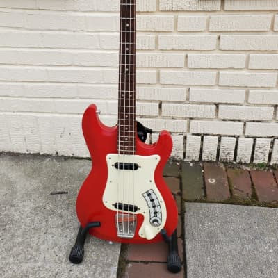 Vintage 1964-1965 Hagstrom Futurama Short Scale Bass II Red~Ex Tom Keifer of Cinderella Fame