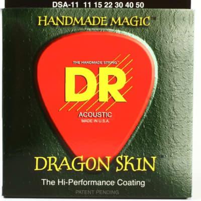 DR DSA-11 Dragon Skin .011 - .050 Phosphor Bronze Hard Coated Acoustic Guitar Strings - 3 Sets!