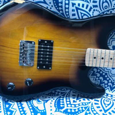 Davison S-Style Sunburst Double Cutaway Electric Single Humbucking Pickup Guitar-Big Fun for Small $ for sale