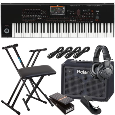 Korg Pa4X-76 76-key Professional Arranger, Roland KC220, Keyboard Stand, Bench, Korg EXP2 Pedal, Sustain Pedal, (4) 1/4 Cables, AT ATH-M20X Bundle