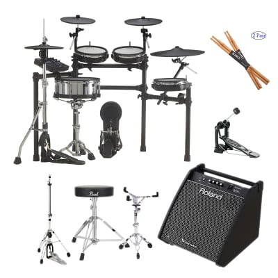 Roland TD-27KV V-Drums Kit- Roland PM-200 - Pearl Throne D50 - Gibraltar 6707 - Gibraltar 6706 - Pearl Bass P530 - Drum Sticks