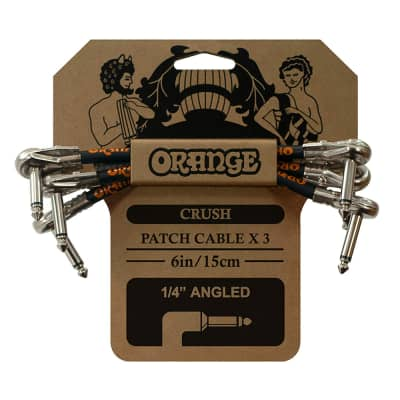 Orange Amplification Crush Instrument Patch Cable, Angled Plugs, 3-Pack, 6in
