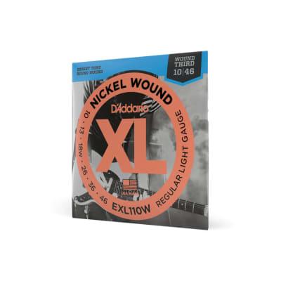 D'Addario EXL110W Nickel Wound Electric Strings, Reg. Light, Wound 3rd
