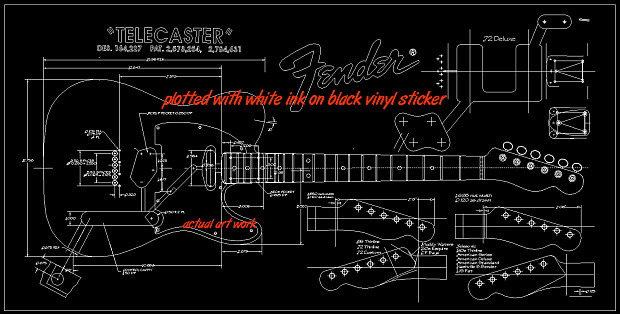 1952 telecaster blueprint 22x46 technical blueprint gift for reverb 1952 telecaster blueprint 22x46 technical blueprint gift for musician malvernweather Images
