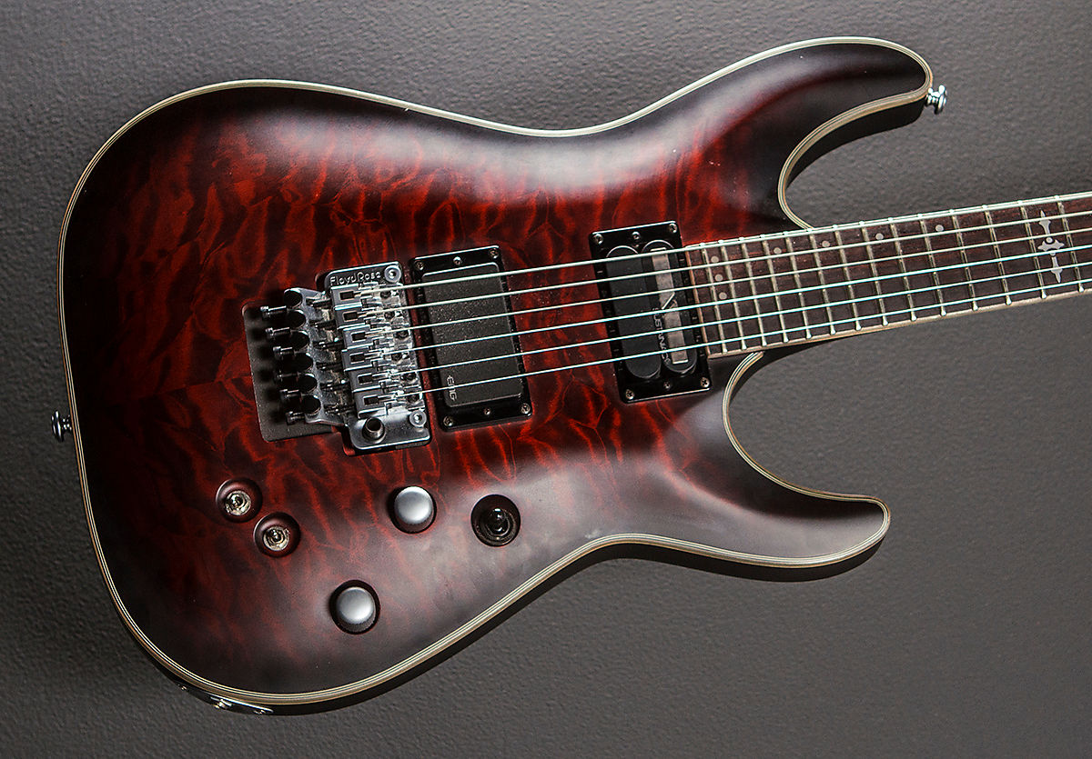 schecter c 1 platinum fr s sustainiac w floyd rose crimson reverb. Black Bedroom Furniture Sets. Home Design Ideas