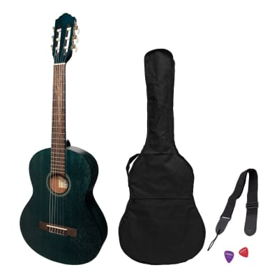 Martinez 'Slim Jim' 3/4 Size Student Classical Guitar Pack with Built In Tuner (Blue) for sale