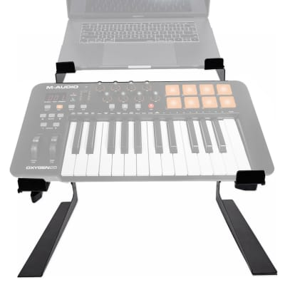 Rockville Dual Laptop+Controller Stand for M-Audio Oxygen 25 MK IV Keyboard