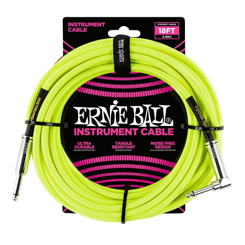 5 Pack Ernie Ball 6085 18 Braided Neon Yellow Straight