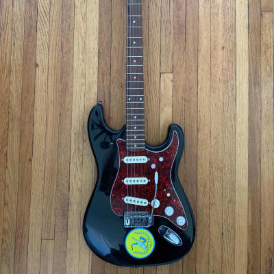 Vintage 80s Memphis Stratocaster Model 202 BK Black/Tortoise Shell for sale