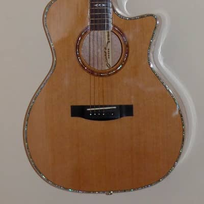 Grand Auditorium Acoustic Guitar AA Solid Cedar Top Okoume Back & Sides, Maple Bound w/Abalone