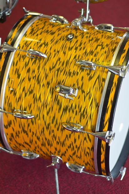 Vintage Slingerland Yellow Tiger Pearl Drum Kit Reverb