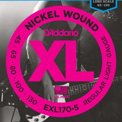 D'Addario EXL170-5 Bass Guitar Strings - Regular Light Gauge 5 String Set